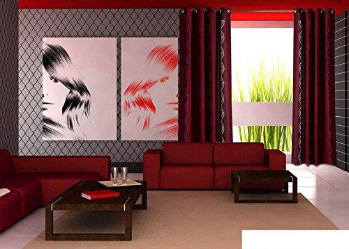 Rideau à oeillets décoratif moderne 3D Laser 145 cm x 250 cm