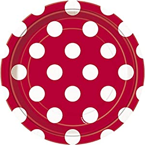 Unique Party- Paquete de 8 platos de papel a lunares, Color rojo, 37494)