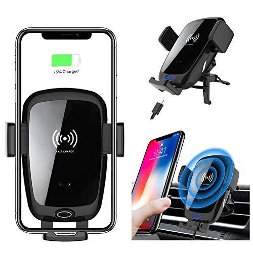 Caricabatteria da auto wireless, supporto per telefono Sensore di gravità Rotazione a 360 ° per Qi con iPhone Xs/X / 8/8 Plus Galaxy s9 / s8 / S7 / s6 Nero