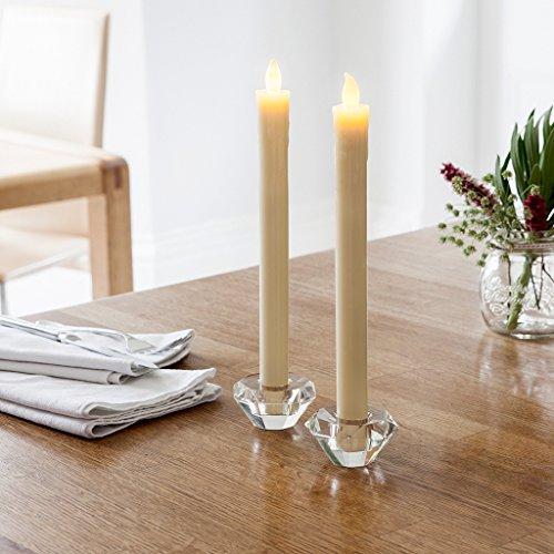 Lights4fun Lot de 8 Bougies de Chandelier à Piles en Cire Blanche avec Flamme LED Blanc Chaud
