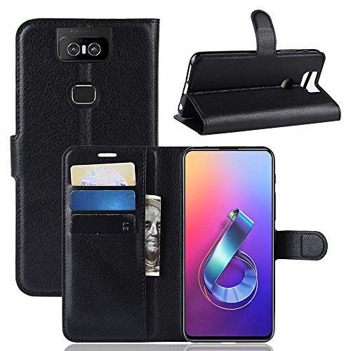 HDOMI Case ASUS ZenFone 6 ZS630KL, PU Leather Case High quality Flip Cover for ASUS ZenFone 6 ZS630KL (Black)