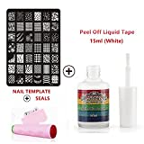 Perfect-Summer-Nails-Art-Stainless-Steel-Template-with-Multi-designs-Patterns-+-Pink-Stamper-Plate-and-Scraper-+-15ml-Nail-Liquid-Tape-Base-Coat-Palisade-(White)