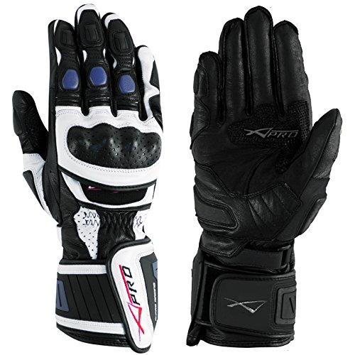 Guanto Pista Racing Protezioni Tecnico Sport Pelle Moto A-pro Bianco/Blu XXL
