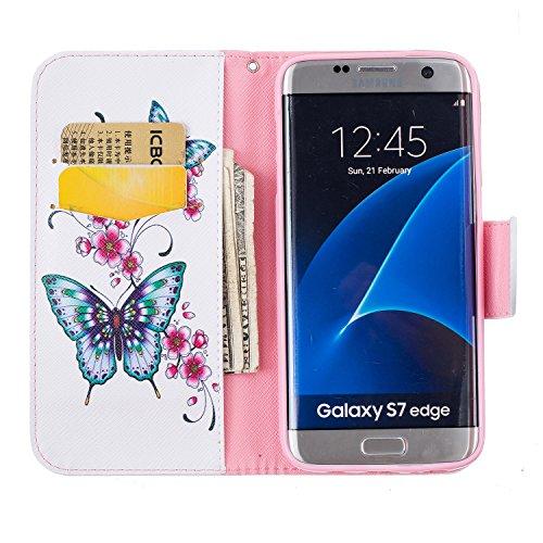 Samsung Galaxy S7 Edge (5.5 pouce) Coque , PU Cuir Étui Protection Wallet Housse la Haute Qualité Pochette Anti-rayures Couverture Bumper Magnétique Antichoc Case Anfire Cover pour Samsung Galaxy G935 Deux Papillon