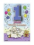Depesche 5598.001 Glückwunschkarte mit Motiv von Archie, 1. Geburtstag, blau, Mehrfarbig