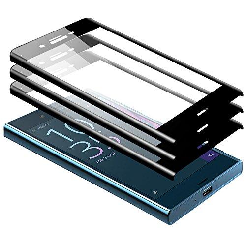 zanasta 3 Stück Bildschirmschutz Glass kompatibel mit Sony Xperia XZ Premium Schutzfolie aus gehärtetem Glas [Vollständige Abdeckung] Screen Protector (3D Full Cover) Schwarz
