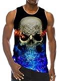 chicolife 3D Feuer Skull Print Lustige Muster Realistische Underwaist Gym Tank Tops für Herren XX-Large
