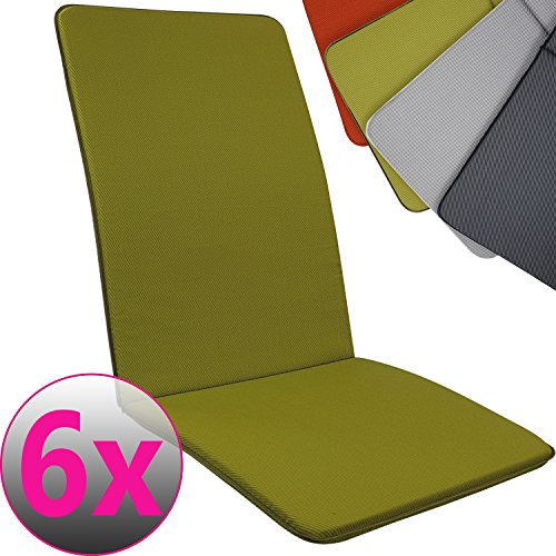 PROHEIM Set x4 Cojines Pisa para sillas de jardín Exterior con Respaldo Alto 113 x 47 cm - Cojín Relleno de Espuma, Color:Verde Manzana