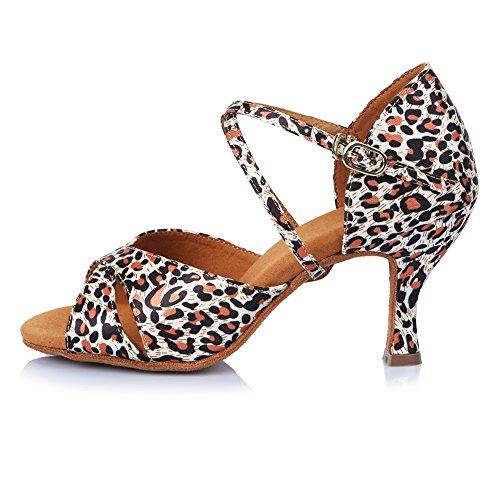 Hipposeus Femmes Ballroom Chaussures De Danse / Chaussures De Salon / Chaussures De Danse Latine En Satin Standard, Modèle-itaf406 Leopard