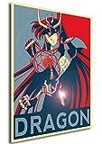 """Poster Saint Seiya """"Propaganda"""" Dragon Shiryu - Formato A3 (42x30 cm)"""