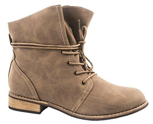 Elara Damen Stiefelette | Biker Boots | Trendy Lederoptik | Chunkyrayan ZY2281-Khaki-40