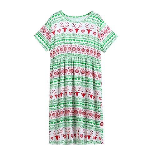Hirolan Familie Abgleich Kleid Weihnachten Pyjama Sankt Outfits O-Ausschnitt Shirts Laternenhülse Kleider Hirsch Drucken Hose 2-13T Kinderkleidung Mama Vati Anzüge (2T, (2t Kostüme)