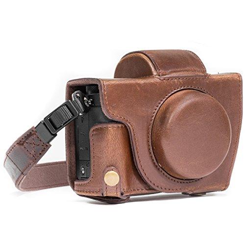 MegaGear MG687 Etui de Protection avec Bandoulière/Accès Batterie en Cuir pour Appareil Photo Canon PowerShot G5 X Marron foncé