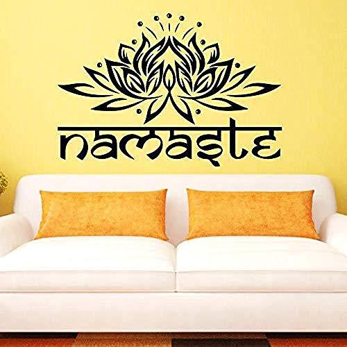 Lotus Namaste Indische Sprache Hände zusammen Yoga Studio Geschnitzte dekorative Wandaufkleber 58x85cm