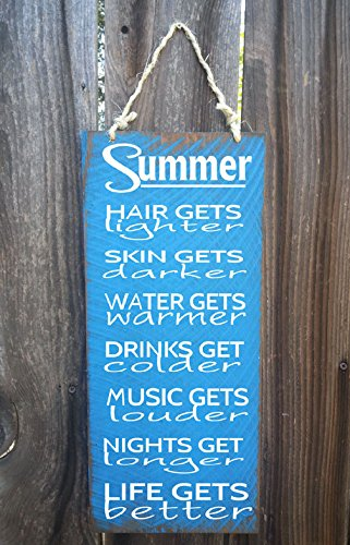 Holz-Plakette, Sommer, Strand, Surfen, Hütte, Surfer Girl, Ozean-Design, Sommer-Zeichen, Sommer-Design, als 18x 8