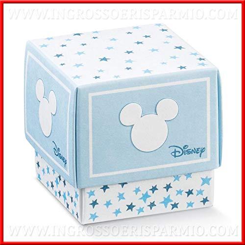 Ingrosso e risparmio 12 scatoline con coperchio in cartoncino bianco e celeste di topolino baby, firmate disney, piccoli pensierini per la nascita, compleanno maschio (senza confezionamento)