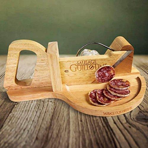 mikamax - Guillotine à saucisse - Coupe légumes - Trancheuse à fromage - Bois massi