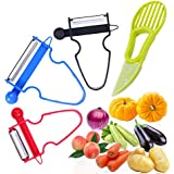 GESCHOK Magic Trio Peeler Set, 3 Piezas Peeler Set Kitchen Tools Multifunción Shredder, Slicer, Peeler Julienne Cutter Stainless Steel Blade Zesters, Aguacate Slicer como Regalo