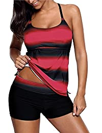 45ae27cc4210c Sixyotie Women's Swimwear Gradient Color Tankini Set Top with Shorts Low  Waist Sporty Swimsuit Bikini