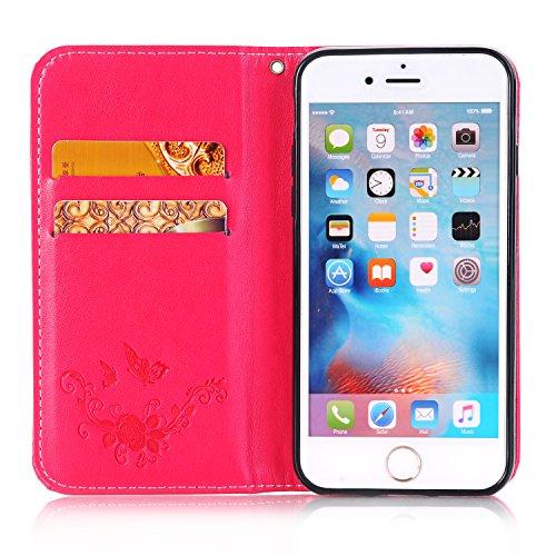 Etsue pour iPhone 6/6S Coque,Folio BookStyle Mode Papillon Motif [ Dorée ] pour iPhone 6/6S,Flip Leather Walllet Case for iPhone 6/6S,Carte de Visite Dossier de Fonction Support Portefeuille Pochette  Rouge