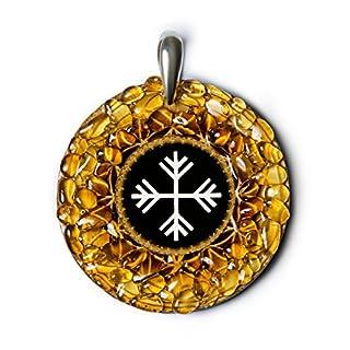 Wind–Bernstein Amulett mit antiken Baltischer Zeichen für Change, Rad der Life. Handgefertigt Halskette–Spirituelle New Age Pagan Baltischer