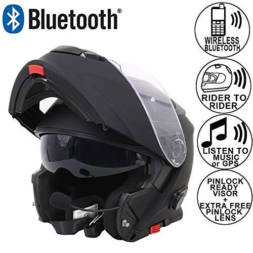 Leopard LEO-727 Anti-Fog Visier Bluetooth Klapphelm Motorradhelm Integralhelm #1 Matt Schwarz L (59-60cm) Headset,Hände frei,Geräuschfrei,Automatische Beantwortung
