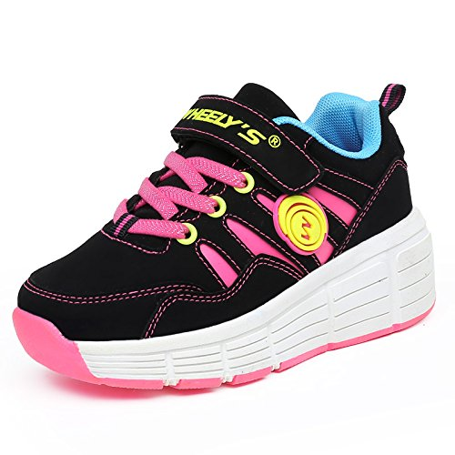 KE Unisexe Enfants LED Lumière Sneakers roues Auto-paragraphe chaussures à roulettes Patins Sports Night Running Shoes Black Pink(one wheel)