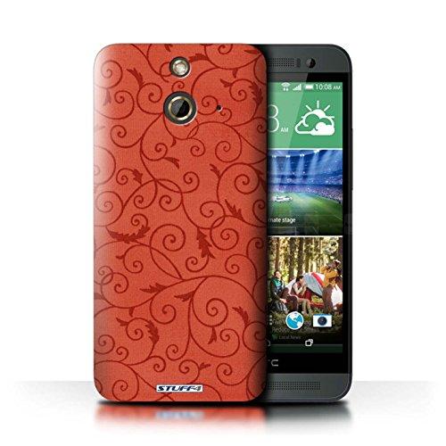 Kobalt® Imprimé Etui / Coque pour HTC One/1 E8 / Orange conception / Série Motif de la vigne Rouge