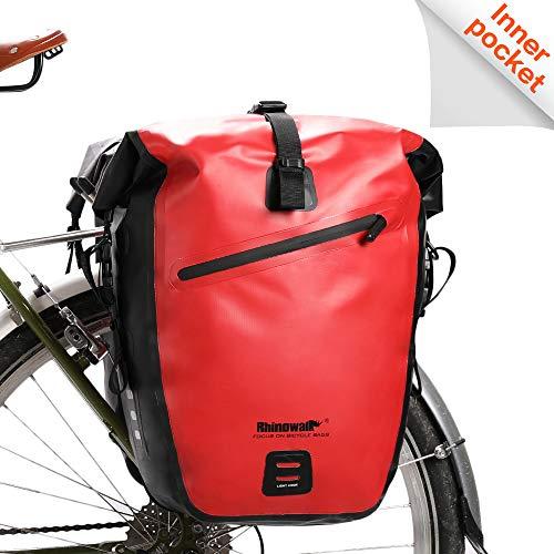 Rhinowalk Fahrradtasche, wasserdicht, für Fahrradgepäckträger, Satteltasche, Laptop, Gepäckträger, Fahrradtasche, professionelles Fahrrad-Zubehör, rot
