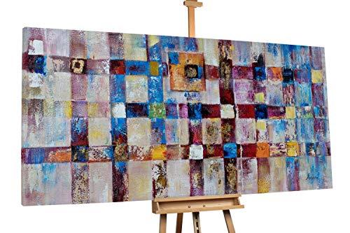 Kunstloft® Extravagante Cuadro al óleo 'Kreatives Karree' 200x100cm | Original Pintura XXL Pintado a Mano en Lienzo | Decoración Abstracto Colorido Imagen | Mural de Arte Moderno en una Pieza