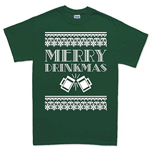 Mens Merry Drinkmas Xmas Ugly Christmas Santa T Shirt (Tee) 4XL Forest (Santa Hut Green)