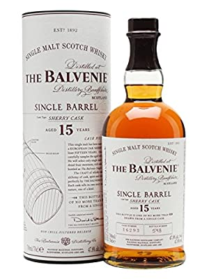 The Balvenie 15 Year Old Single Barrel Sherry Cask Single Malt Scotch Whisky (Case of 12 x 70cl Bottles)