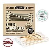 Wattestäbchen Bambus | 100% nachhaltig & umweltfreundlich | Aus reiner Baumwolle & Bambus | 200 Stück |Für Kinder & Erwachsene | Ohrenstäbchen in Premiumqualität von Tillmann's Deutschland