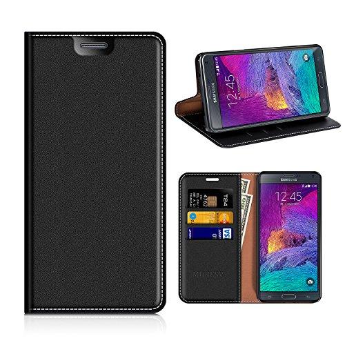 MOBESV Samsung Galaxy Note 4 Hülle Leder, Samsung Note 4 Tasche Lederhülle/Wallet Case/Ledertasche Handyhülle/Schutzhülle mit Kartenfach für Samsung Galaxy Note 4 - Schwarz