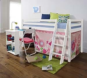 Lit cabane avec bureau Design FLORAL Blanc avec tente florale WG
