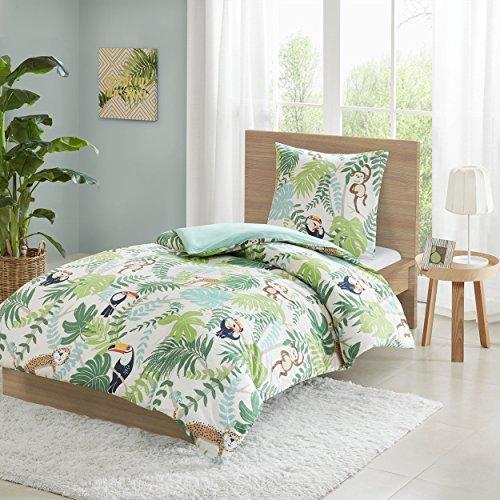 SCM Bettwäsche Grün Blau Dschungel Tiere -Renforcé 100% Baumwolle - 2-Teilig Bettbezug & Kissenbezug - Ganzjahres & 4-Jahreszeiten - Ideal für Schlafzimmer - Tropical Einzelbett, 135x200+80x80cm (Leopard-druck Bettwäsche-set)