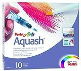 Pentel Aquash 10 wasservermalbare Kreiden und Spezialpinsel
