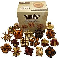 Joyeee 18 Piezas Cubo 3D Rompecabezas de Madera Juego Puzle #2 - Desafiar su Pensamiento lógico - Ideal Regalo y Decoración