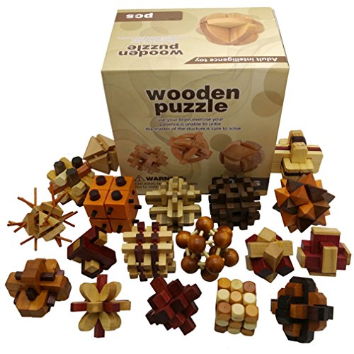 Joyeee� 18pcs 3D Wooden Brain Teaser Puzzle #2 � Diamond Cube Interlocking Jigsaw Puzzles for Teens and Adults - Challenge Your Logical Thinking - Ideal Gift and Decoration