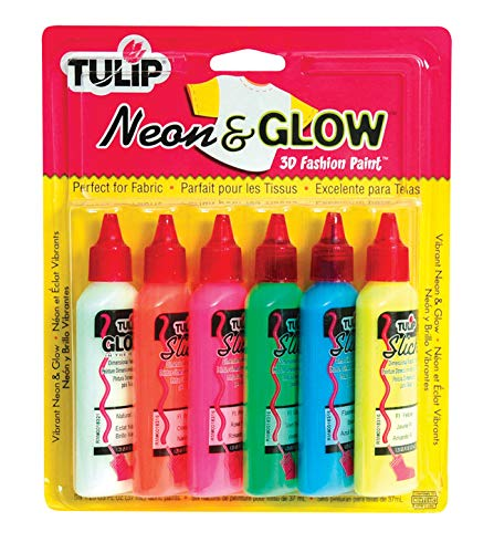 Neon & Glow Tulip 3D Fashion Paint 1-1/4 Ounces 6/Pkg SK-76V -