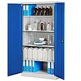Aktenschrank Büroschrank Metallschrank Werkzeugschrank Universalschrank 195 cm (grau/blau)
