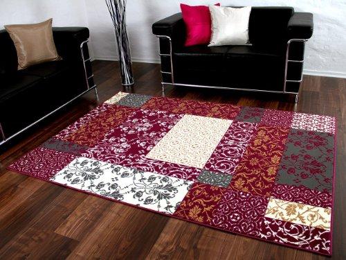 Designer Teppich Passion Lila Grau Flieder Patchwork Karo in 4 Größen