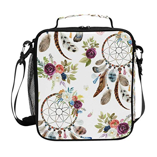 DOSHINE Bolsa de almuerzo aislada con diseño tribal floral bohemio atrapasueños con cremallera bolsa de almuerzo para hombres mujeres niños niñas adultos