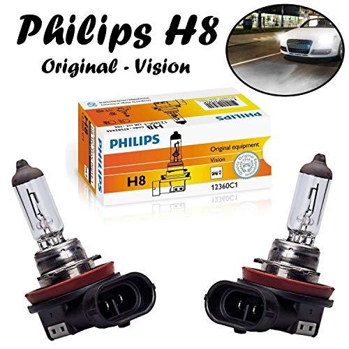 2x Philips H8 35W 12V PGJ19-1 12360C1 Original Vision Klar Weiß White Ersatz langlebig Scheinwerfer Halogen Auto Lampe - E-geprüft