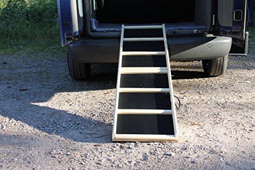 Easy-Hopper Hunderampe/Hundetreppe/Einstiegshilfe Komfort natur mit Feinriefengummimatte