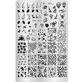 XXL Blume Stamping Schablone Nr. 12 - Nailart Stempel Platte Frühling, Blümchen, Vintage, Schnörkel für Fingernägel