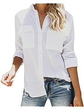 SANFASHION Tops de algodón Blusa sin Mangas de Lino de algodón con Mangas largas para Mujeres