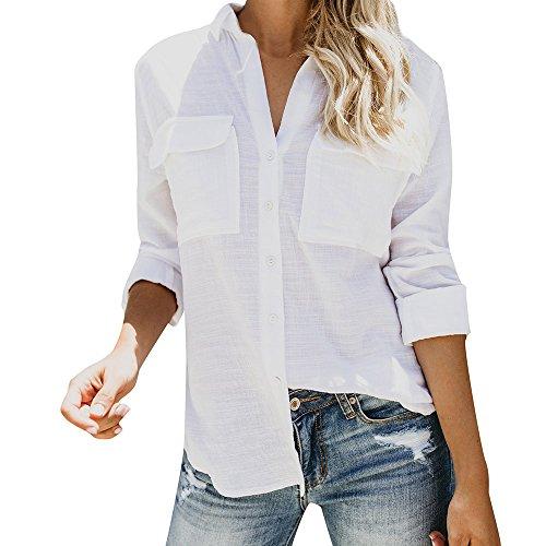 MRULIC Damen 100% Baumwolle Frauen Pullover Solide T-Shirt Ärmellose Casual Hemd Mit Löchern(X-Weiß,EU-40/CN-M)