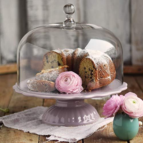 Romantique: Ib Laursen Mynte présentoir à gâteaux lavande avec cloche, ø 29 cm