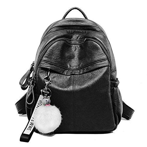 WWAVE Frauen Rucksack Geldbörse PU Leder Schulter Schultasche Vintage Anhänger braun schwarz -